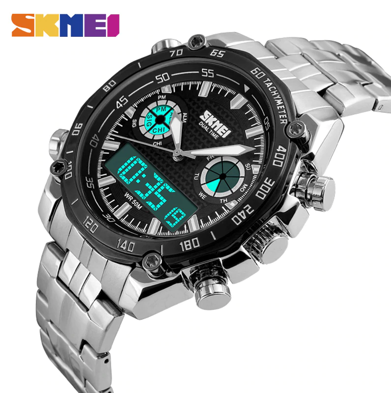 SKMEI 1204 Sports Watch Men 3Bar Waterproof Stainless Steel Dual Display Wristwatch