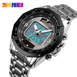 SKMEI 1493 Men 3Bar Waterproof Stainless Steel Strap Dual Display Quartz Men Watch