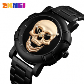 SKMEI 9178 Sport Mens Skull Watch Men 3Bar Waterproof Quartz Wristwatch