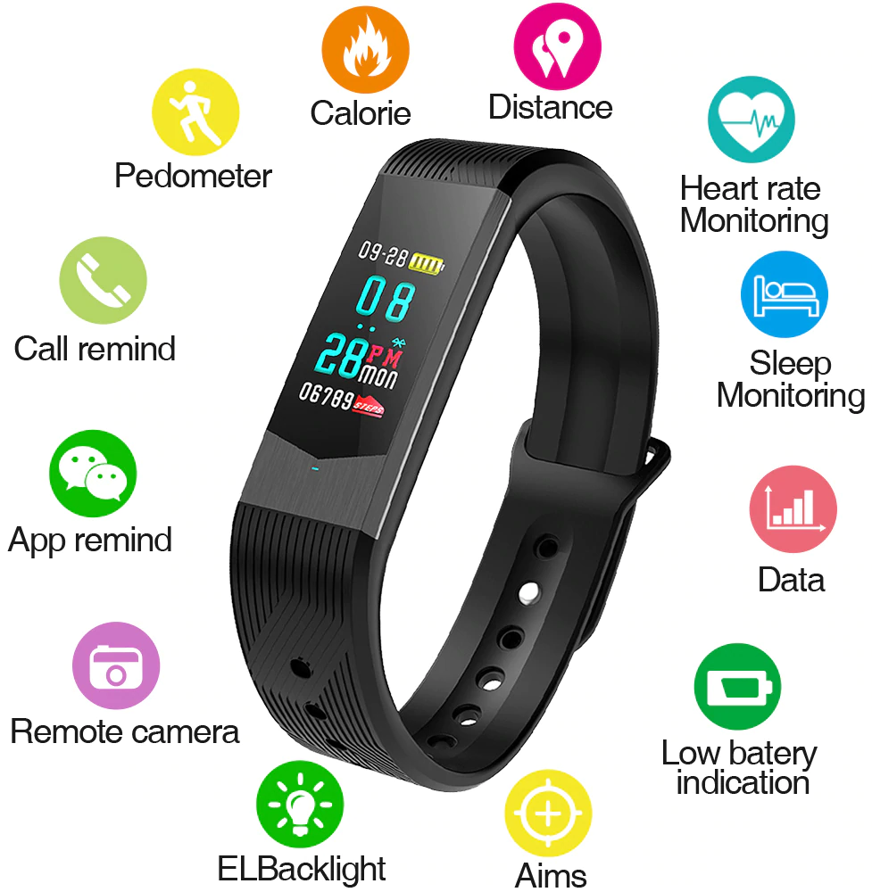 SKMEI B30 Fitness Women Smart Watch Men Bluetooth Heart Rate Blood Pressure Pedometer Clock LED Sport Watch For Android IOS