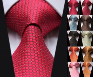 HISDERN-Extra-Width-Check-Party-Wedding-Silk-Tie-Woven-Men-Tie-Necktie-EWC