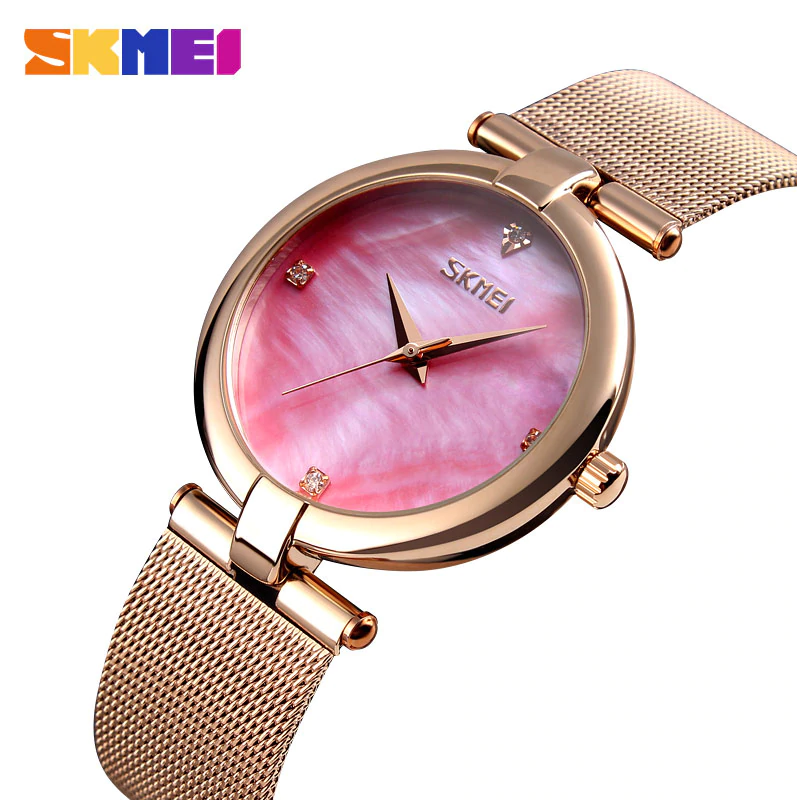 SKMEI 9177 Ladies Watch Quartz Waterproof Stainless Steel Band Women Quartz Wristwatch